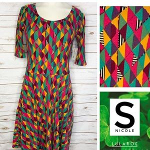 S Nicole multi color geo print dress
